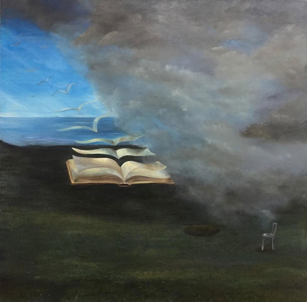 Open Pages, Oil on Canvas, 50 x 50